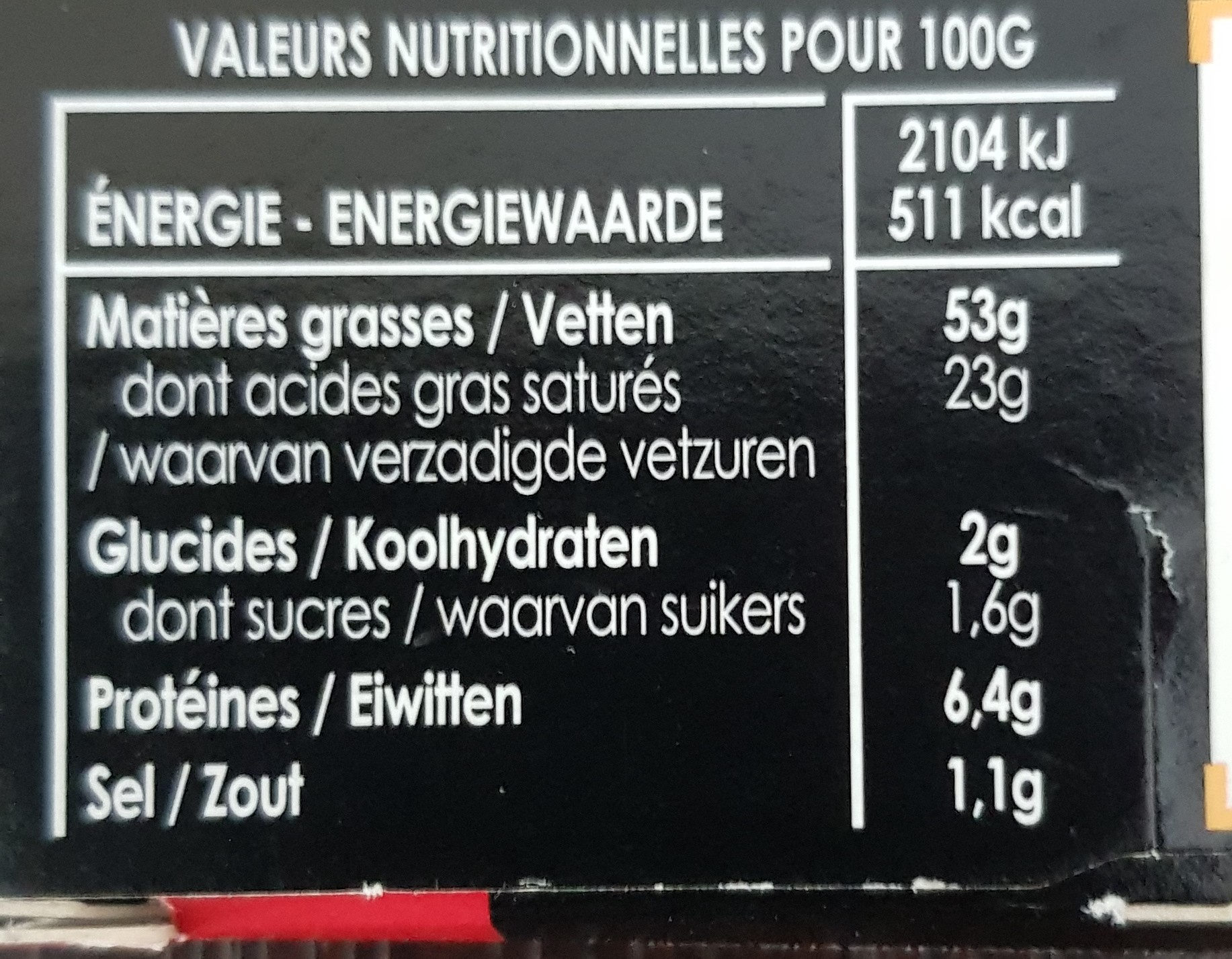 Foie Gras de canard du sud ouest - Nutrition facts - fr