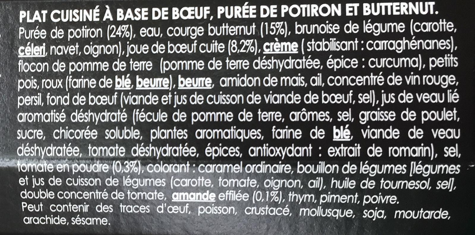 Parmentier de Bœuf (À la mousseline de potiron butternut parsemée d'amandes effilées) - Ingrédients - fr