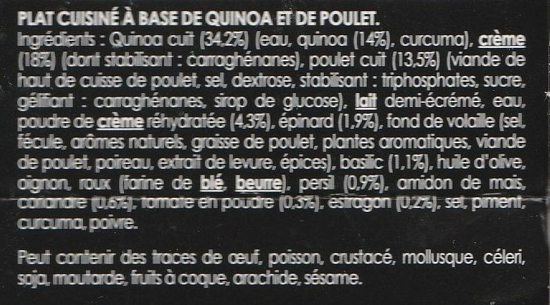 Quinoa & Poulet - Ingrédients - fr