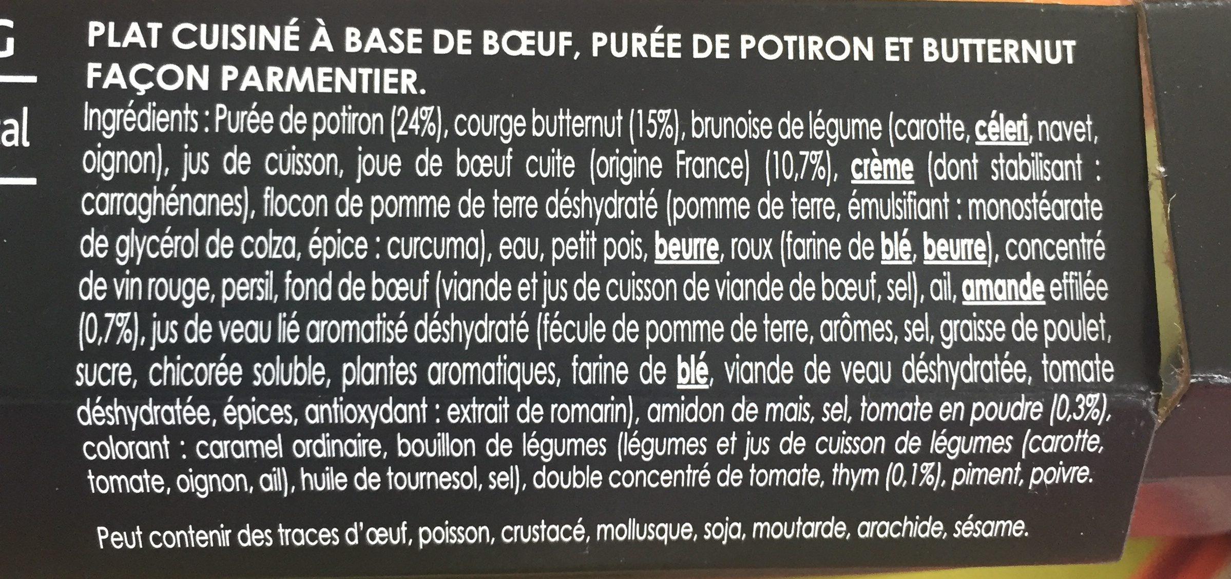 Labeyrie Parmentier de bœuf à la mousseline de potiron & Butternut la barquette de 290 g - Ingrédients