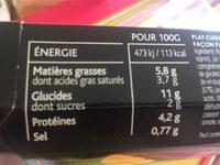 Labeyrie Parmentier de bœuf à la mousseline de potiron & Butternut la barquette de 290 g - Informations nutritionnelles