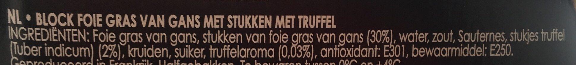 Bloc de Foie Gras d'Oie avec Morceaux a la Truffe - Ingrediënten