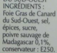 Foie Gras Qualité Traiteur - Ingrediënten - fr