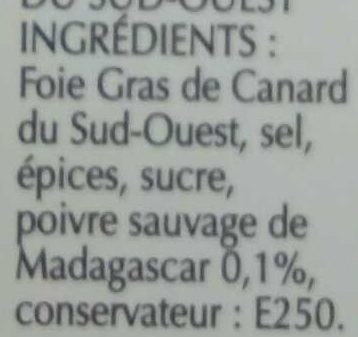 Foie Gras Qualité Traiteur - Ingrediënten