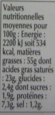 Foie Gras Qualité Traiteur - Voedingswaarden