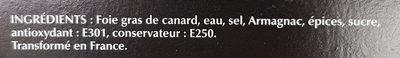 Bloc de foie gras de canard Labeyrie - Ingredients - fr