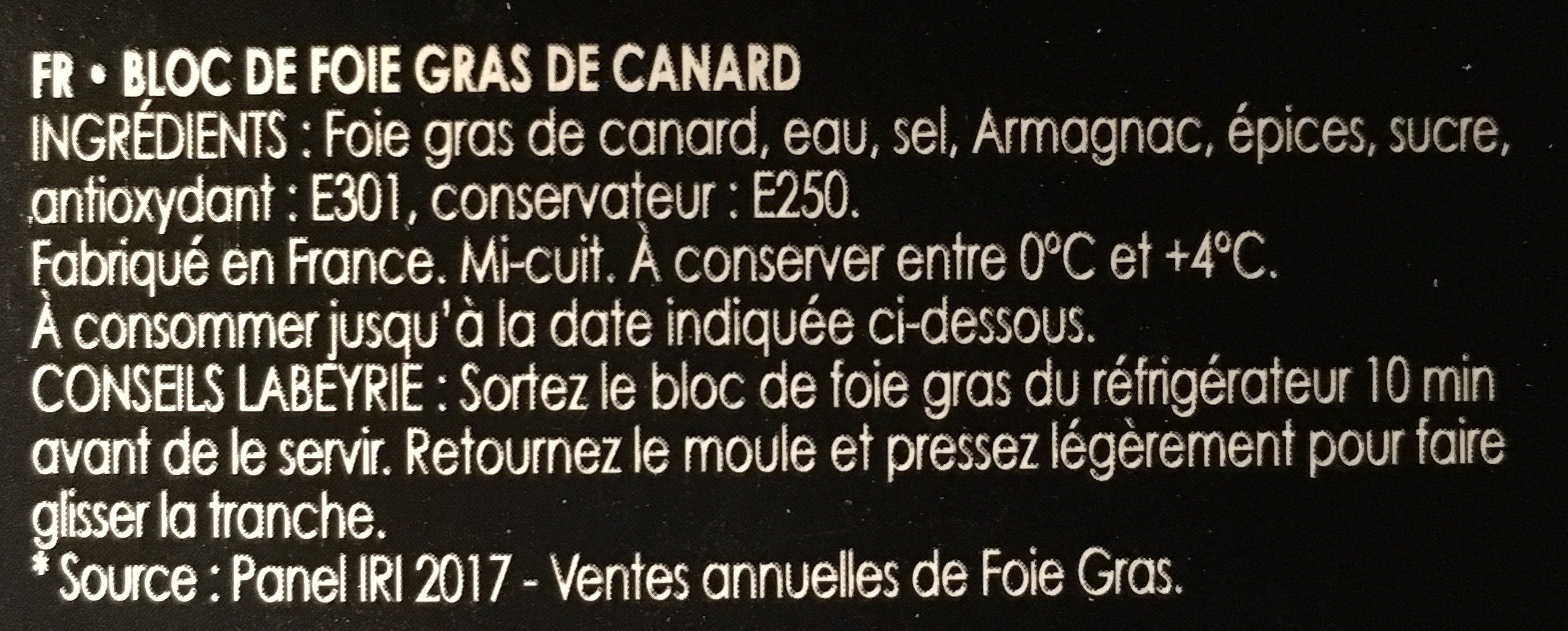 Le duo bloc de foie gras de pato - Ingredienti - fr