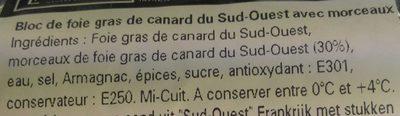 Bloc de foie gras de canard du Sud-Ouest avec morceaux - Ingredients - fr