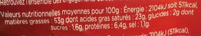 Bloc de foie gras de canard du Sud-Ouest avec morceaux - Nutrition facts - fr