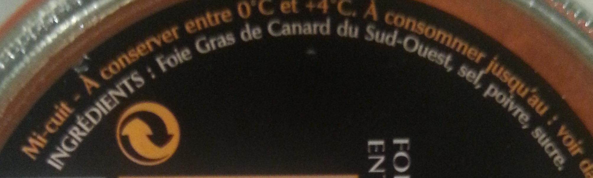 Pure Tradition foie gras de canard entier du sud-ouest - Ingrediënten - fr