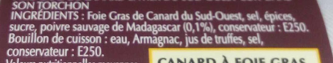 Foie gras qualité traiteur - Ingrédients