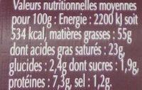 Foie gras qualité traiteur - Informations nutritionnelles