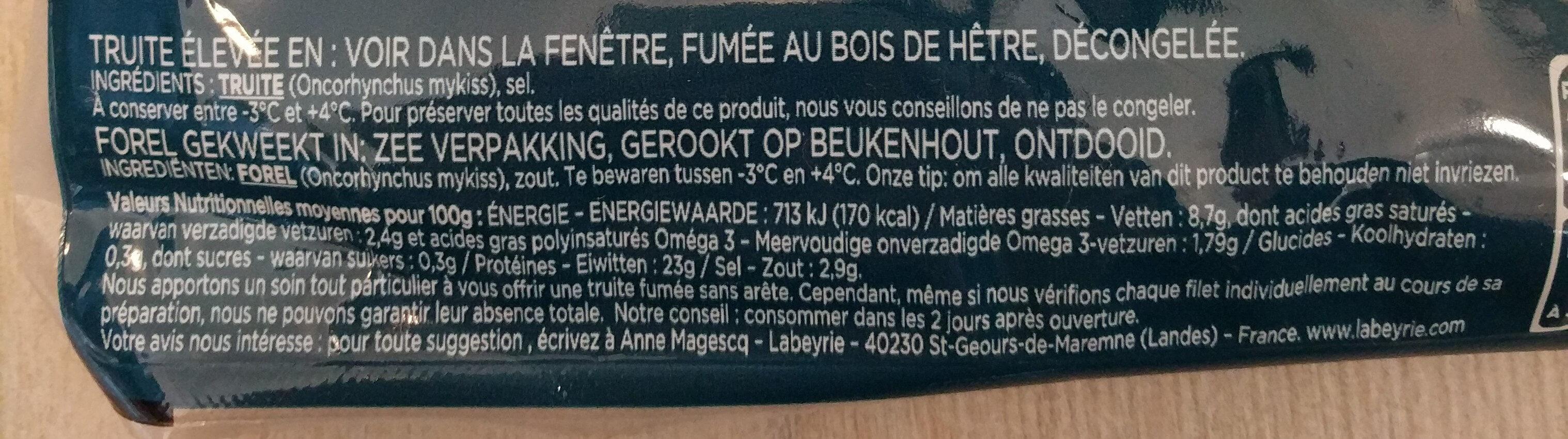 Truite Fumée - Voedingswaarden - fr
