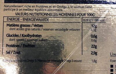 Saumon fumé ecosse - Nutrition facts - fr