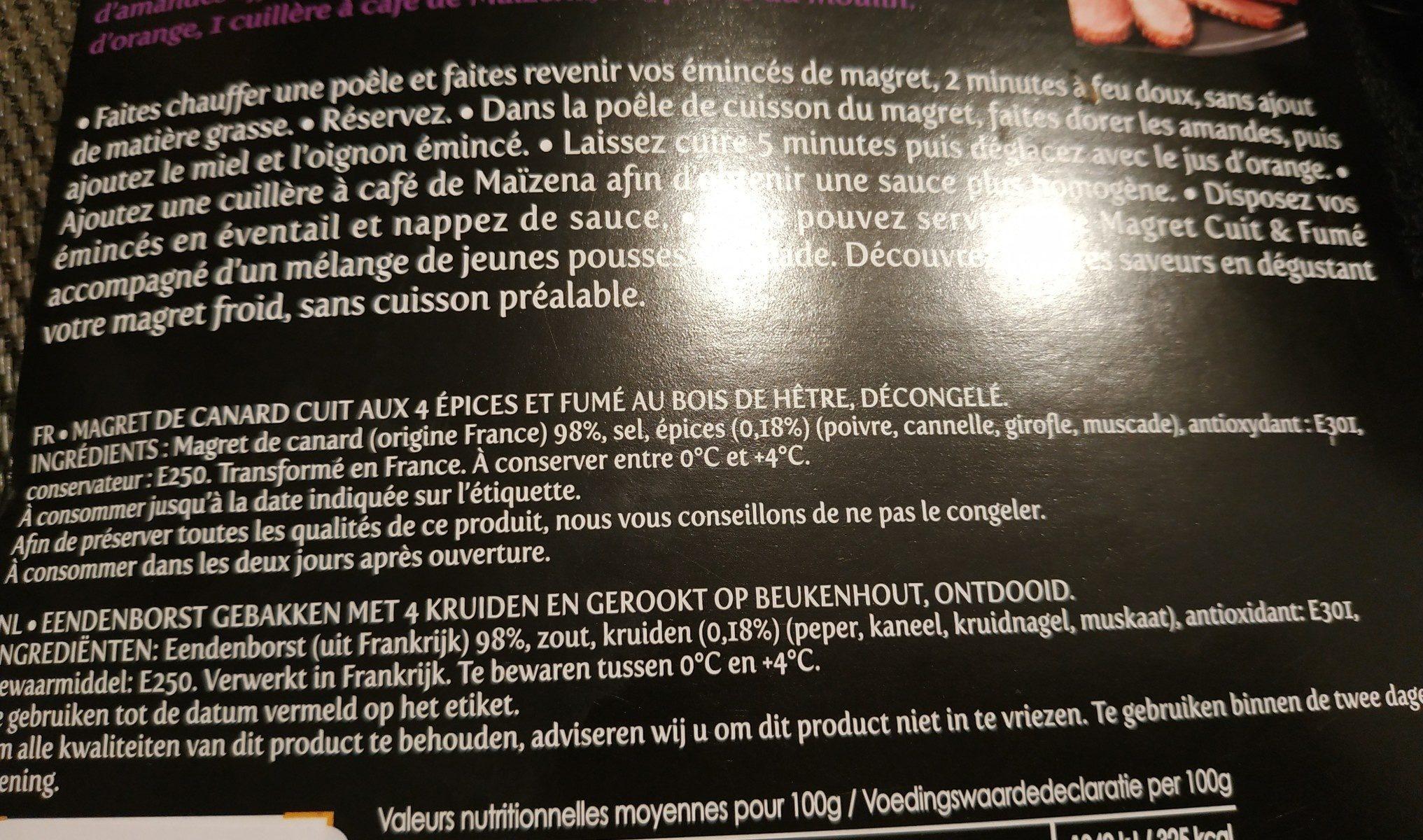 Magret de canard cuit aux 4 épices - Ingrédients - fr