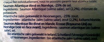 Saumon fumé Bio, doux et équilibré - Ingrédients - fr
