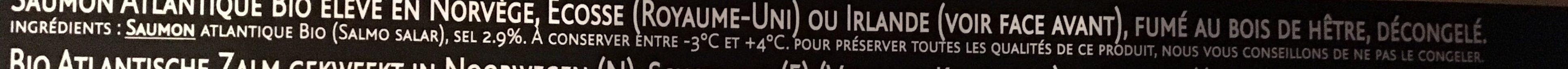 Saumon fumé Dégustation Bio - Ingrediënten - fr