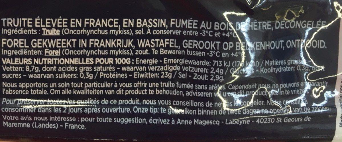 Truite Fumée France - Ingrédients - fr