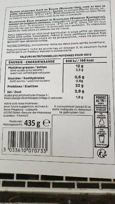 Saumon fumé dégustation le boisé d'écosse - Informations nutritionnelles - fr