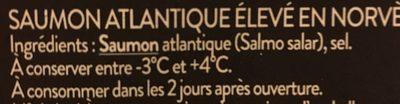 Saumon de Norvège Fumé - Ingrediënten - fr