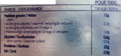 Saumon fumé Le Norvège - Doux & Délicat - Voedigswaarden