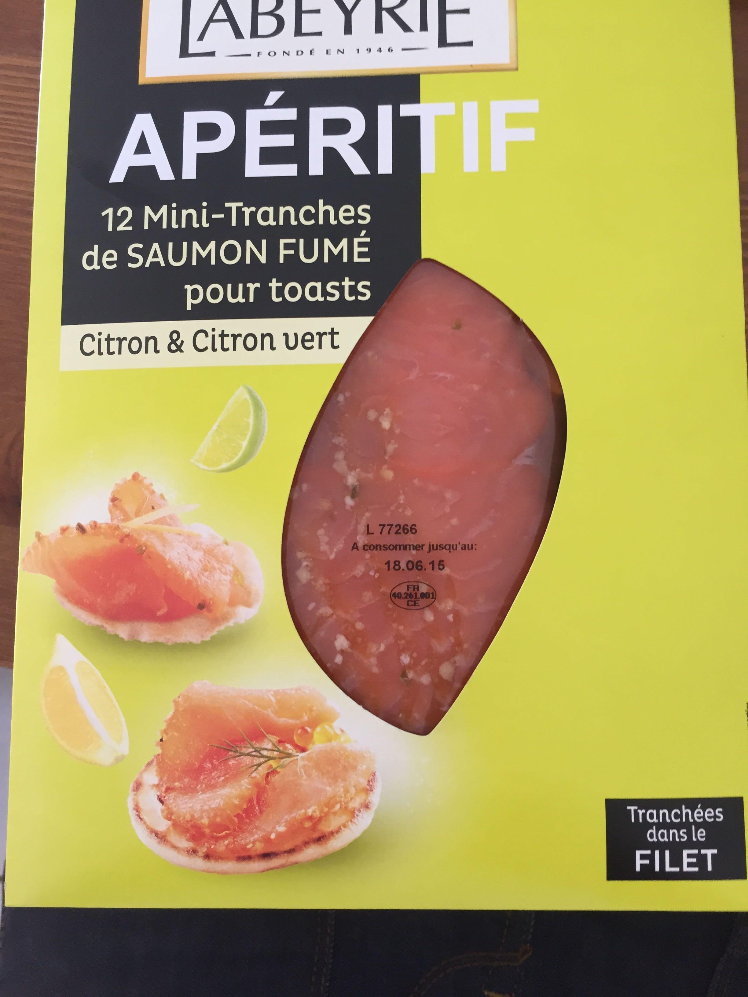 12 mini tranche de saumon fumé Citron & Citron vert - Product