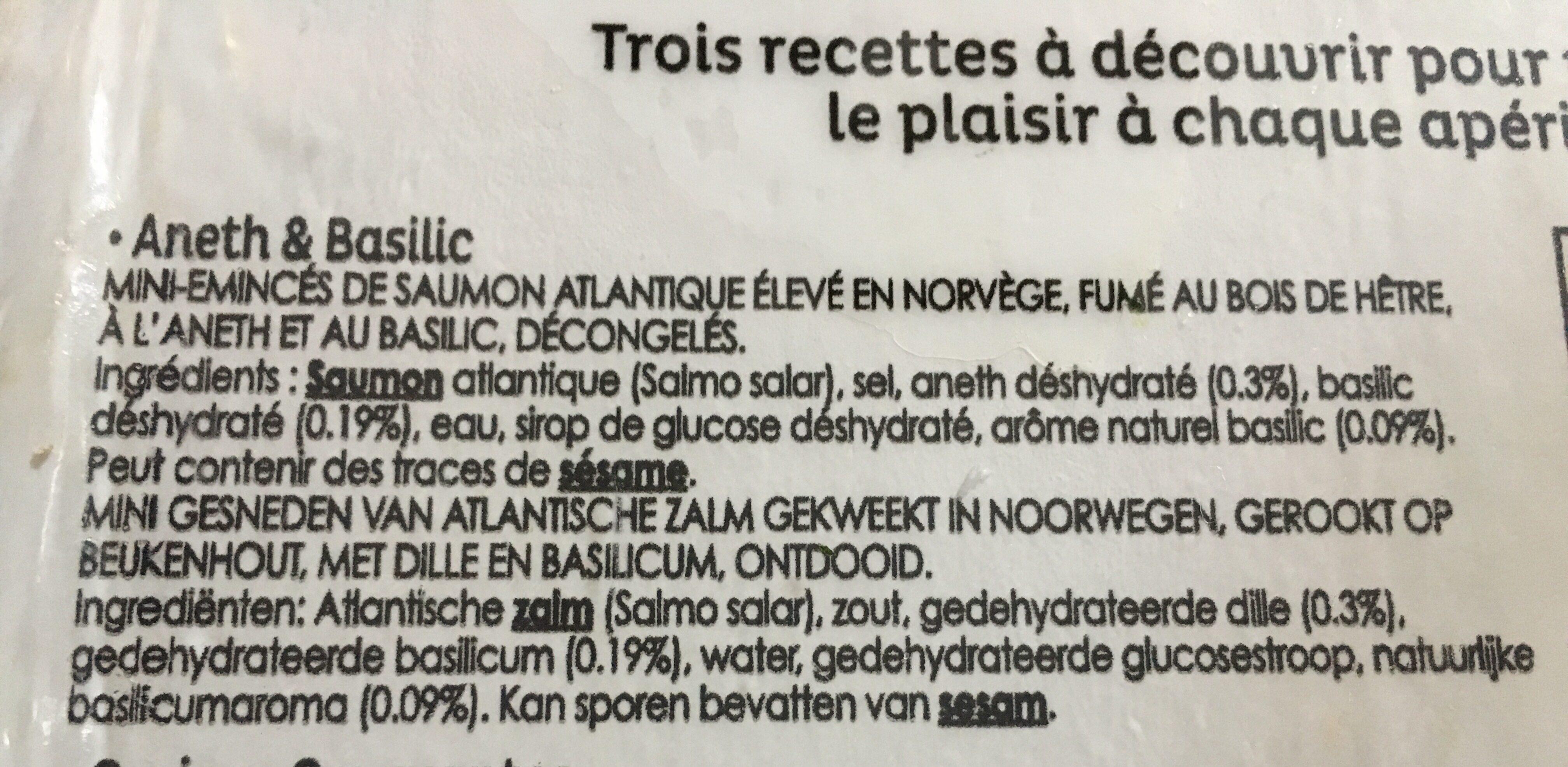 Mini Émincés de saumon fumé aneth & basilic - Ingrédients - fr