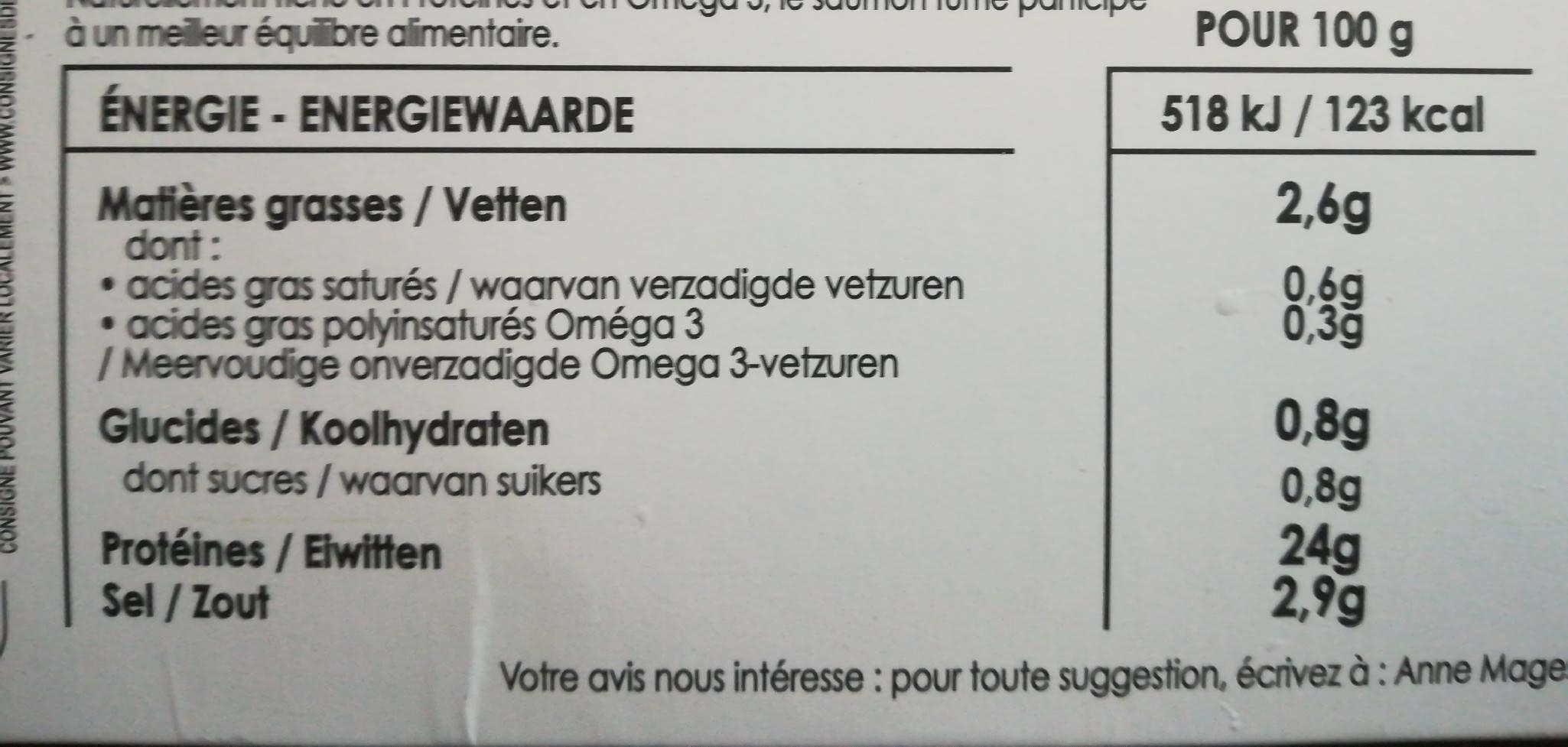 Saumon fumé grandes origines - Informations nutritionnelles - fr