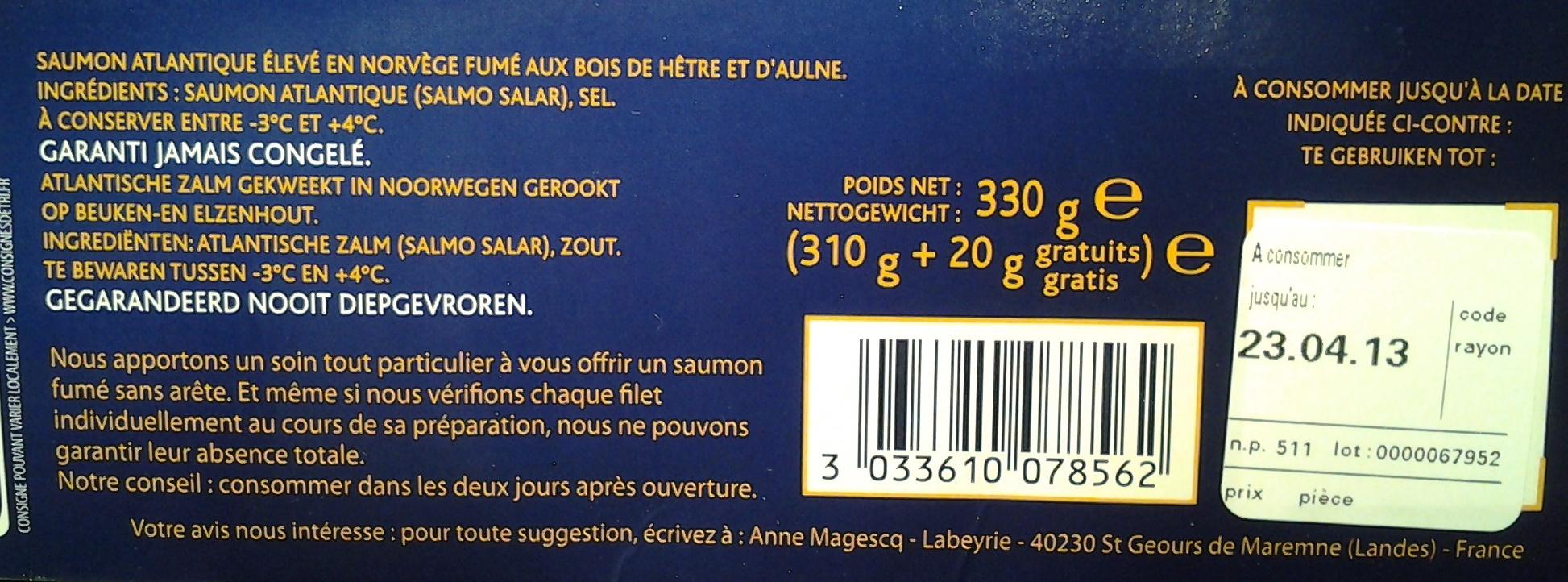 Saumon Fumé de Dégustation - Ingredients - fr