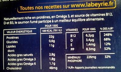 Saumon Fumé de Dégustation - Nutrition facts - fr