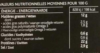 Saumon fumé des Higlands d'Ecosse, fumé au bois de chêne - Informations nutritionnelles - fr