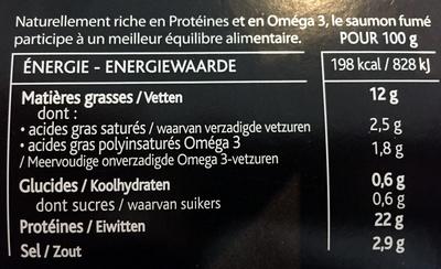Saumon fumé dégustation L'Ecosse - Informations nutritionnelles