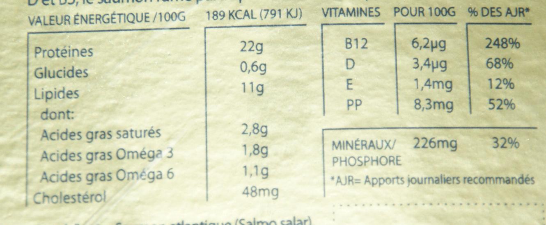 Saumon fumé boisé - Nutrition facts - fr