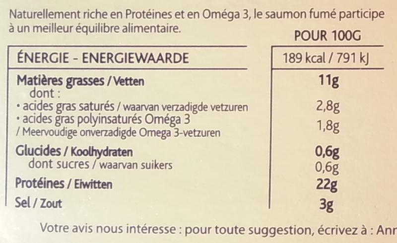 Saumon fumé de dégustation - Ecosse, boisé et généreux - Informations nutritionnelles - fr