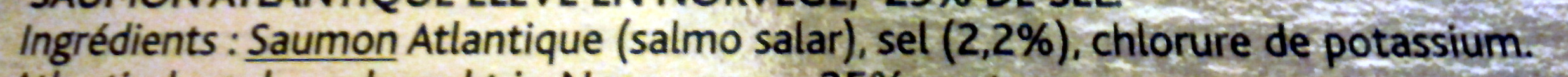 Saumon fumé Le Norvège (-25% de sel) - Ingrédients - fr