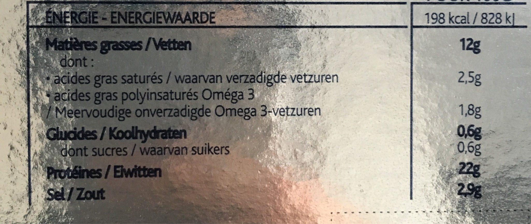 Saumon fumé Le Norvège - Informations nutritionnelles - fr