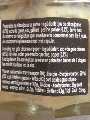 Gelee extra de citron (special saumon fume) - Ingrédients - fr