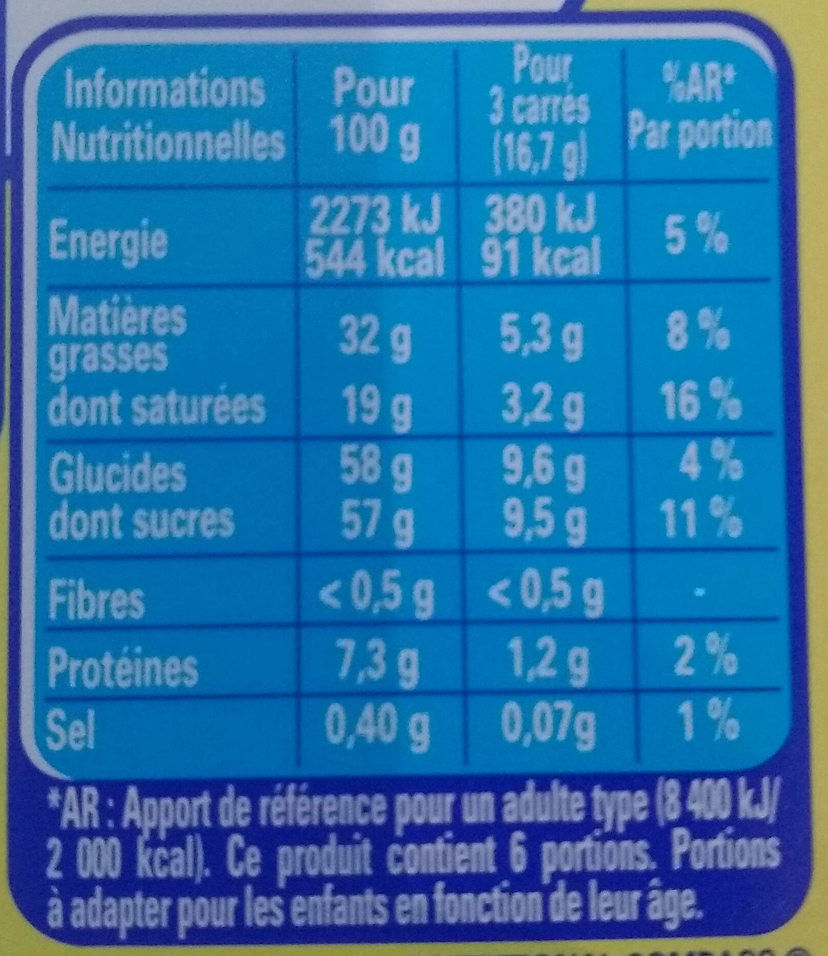 Galak - Informations nutritionnelles