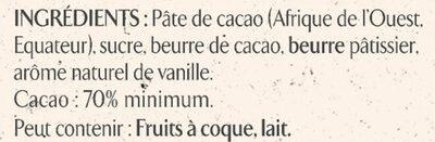 NESTLE L'ATELIER Carrés Dégustation Noir Intense 70% - Ingredienti