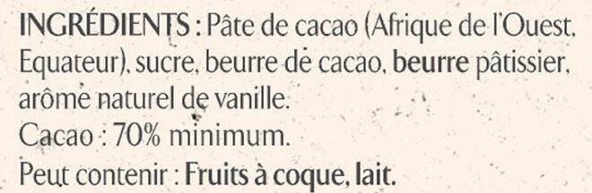 NESTLE L'ATELIER Carrés Dégustation Noir Intense 70% - Ingredienti - fr