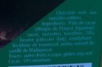 Grand Chocolat Noir Noisettes entières - Ingredienti - fr