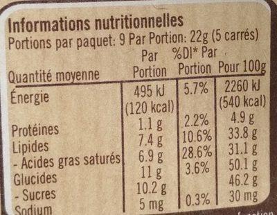 Chocolat Noir Pâtissier Dessert Nestlé - Nutrition facts - fr