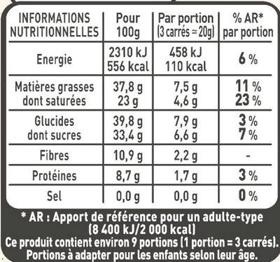 NESTLE L'ATELIER Carrés Dégustation Eclat Noir - Nutrition facts - fr
