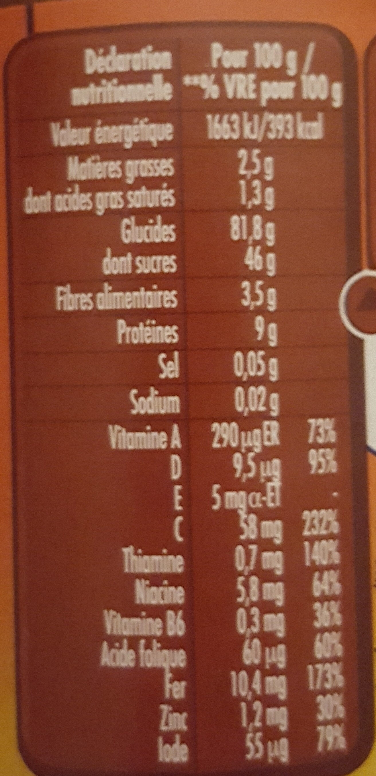 Babicao Chocolat - Nutrition facts