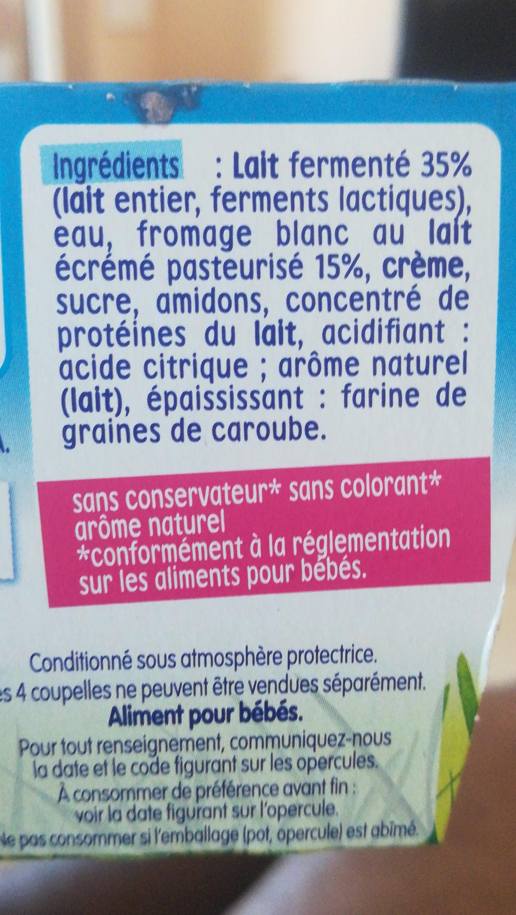 P'tit onctueux au fromage blanc saveur nature sucré - Ingrédients