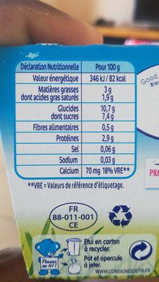 P'tit onctueux au fromage blanc saveur nature sucré - Informations nutritionnelles