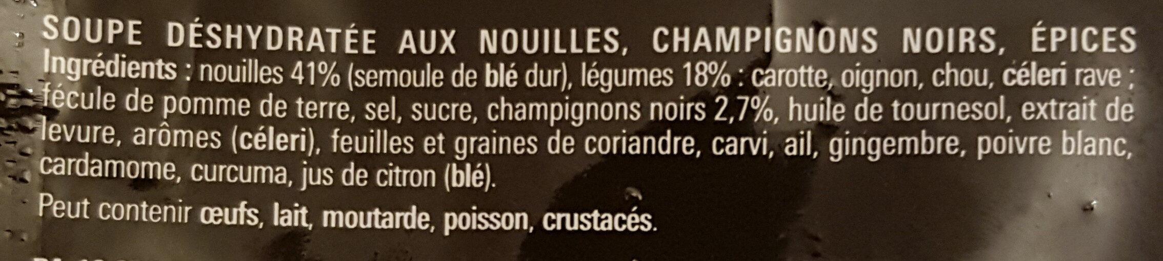 Soupe Chinoise nouilles, champignons noirs, épices - Ingrediënten - fr