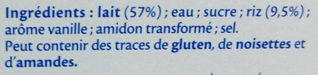 MONT BLANC Dessert Céréales Riz au lait 4x125g - Ingredienti - fr