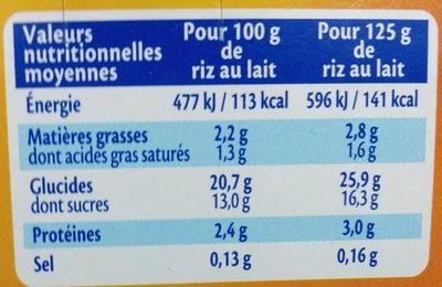 MONT BLANC Dessert Céréales Riz au lait 4x125g - Valori nutrizionali