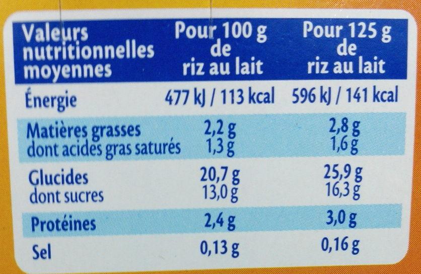 MONT BLANC Dessert Céréales Riz au lait 4x125g - Valori nutrizionali - fr